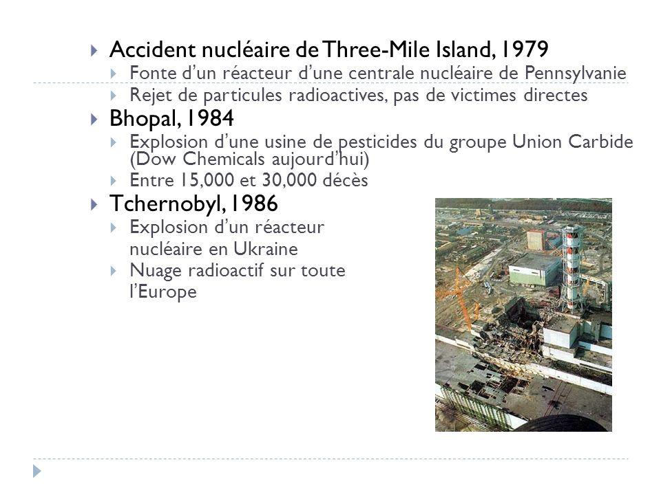 Accident nucléaire de Three-Mile Island, 1979 Bhopal, 1984