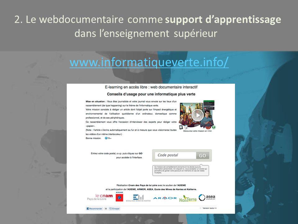 2. Le webdocumentaire comme support d'apprentissage dans l'enseignement supérieur