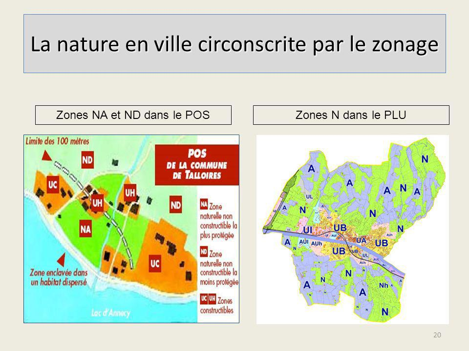 La nature en ville circonscrite par le zonage