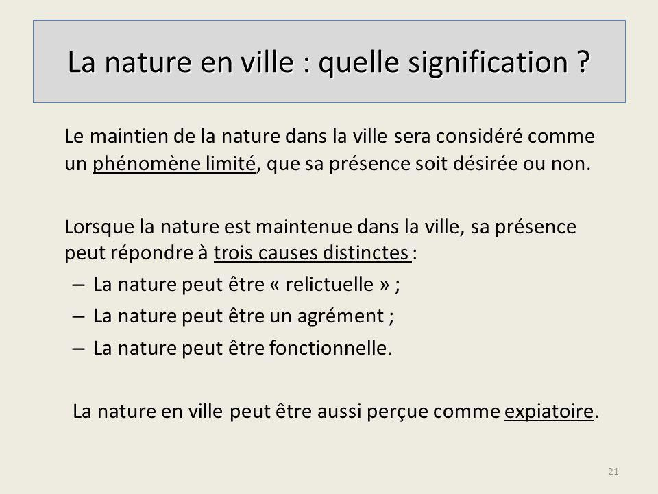 La nature en ville : quelle signification