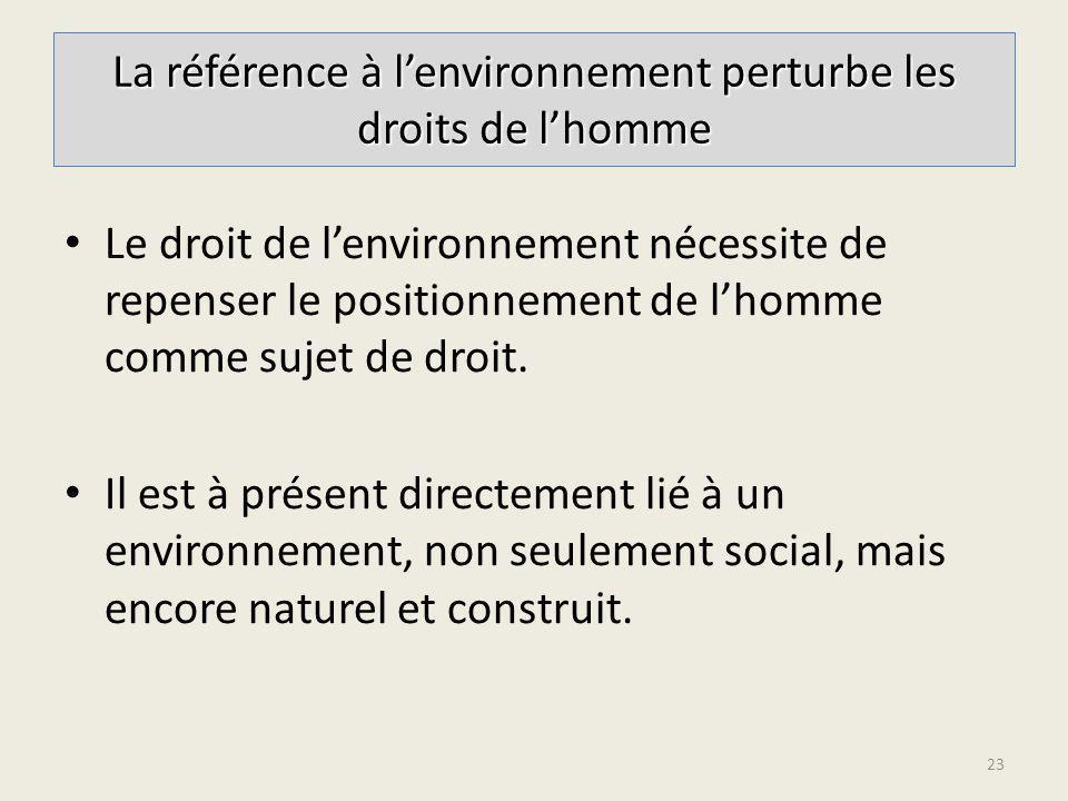 La référence à l'environnement perturbe les droits de l'homme