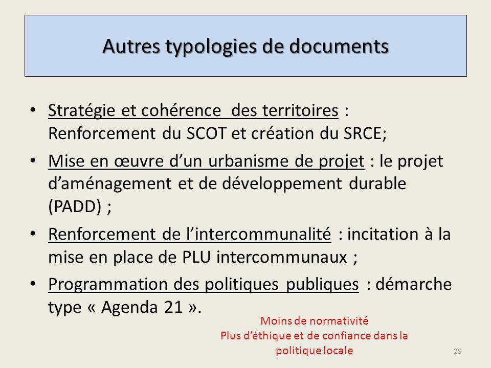 Autres typologies de documents