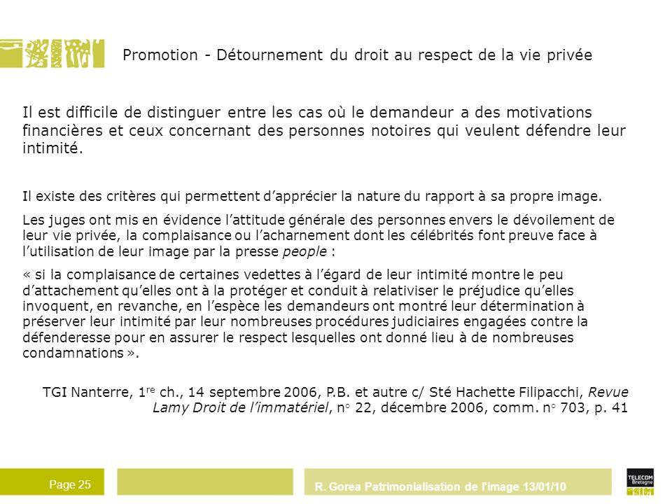 Promotion - Détournement du droit au respect de la vie privée