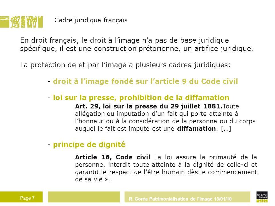 La protection de et par l'image a plusieurs cadres juridiques: