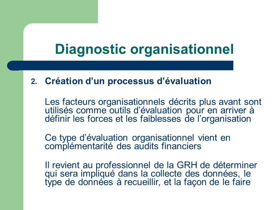 Diagnostic organisationnel