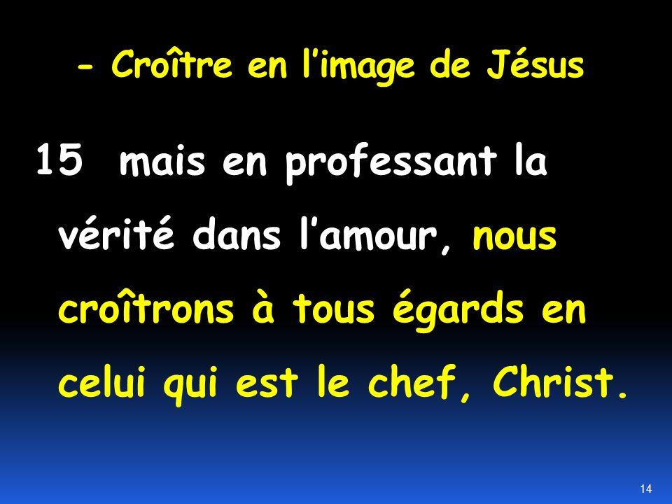 - Croître en l'image de Jésus