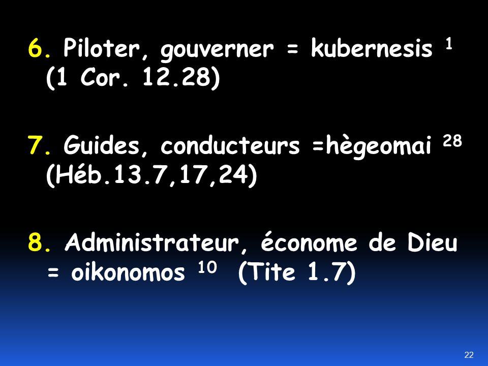 6. Piloter, gouverner = kubernesis 1 (1 Cor. 12.28)