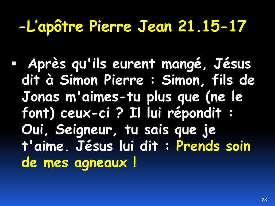 -L'apôtre Pierre Jean 21.15-17