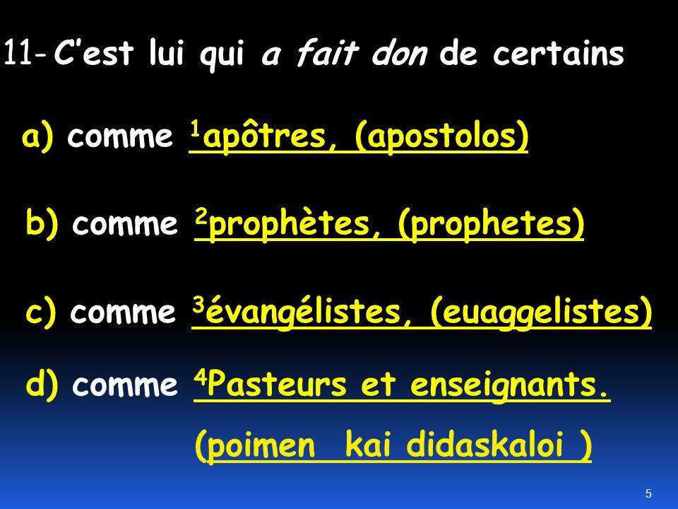 11- C'est lui qui a fait don de certains a) comme 1apôtres, (apostolos) b) comme 2prophètes, (prophetes) c) comme 3évangélistes, (euaggelistes) d) comme 4Pasteurs et enseignants.