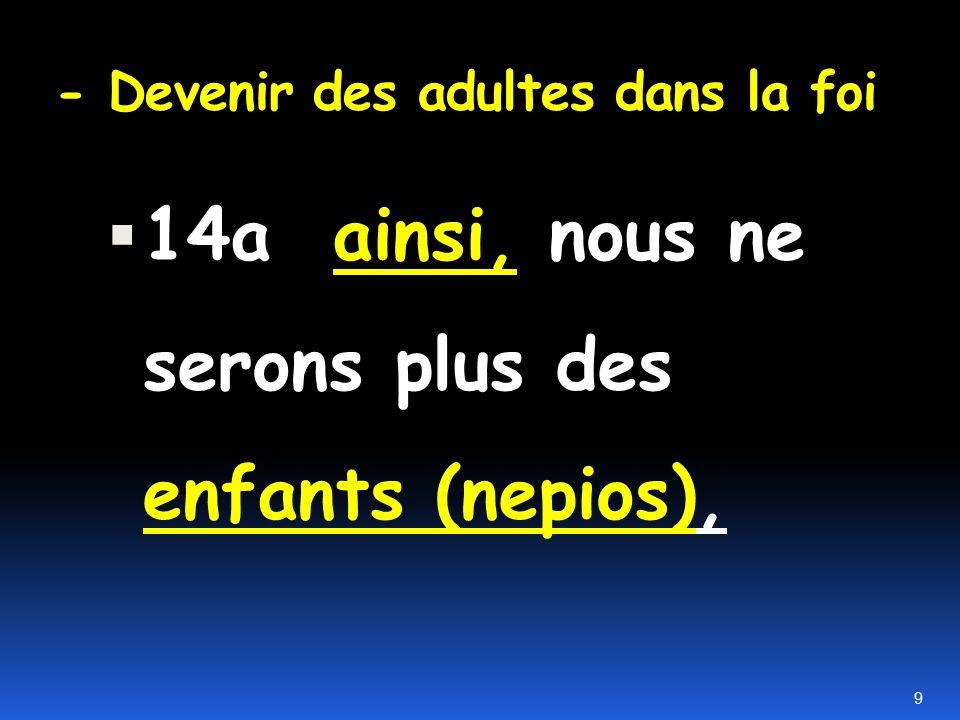 - Devenir des adultes dans la foi