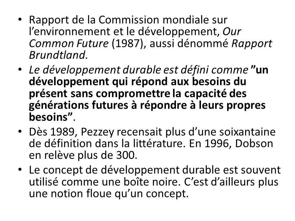Rapport de la Commission mondiale sur l'environnement et le développement, Our Common Future (1987), aussi dénommé Rapport Brundtland.