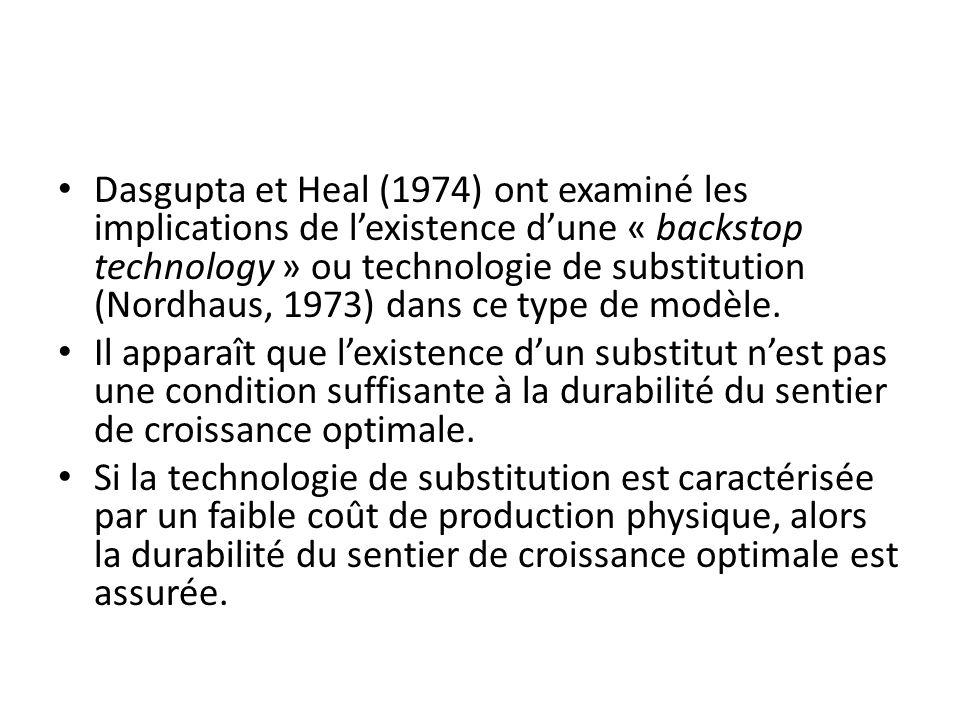 Dasgupta et Heal (1974) ont examiné les implications de l'existence d'une « backstop technology » ou technologie de substitution (Nordhaus, 1973) dans ce type de modèle.