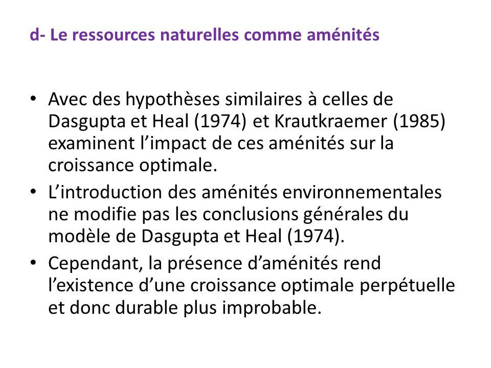 d- Le ressources naturelles comme aménités