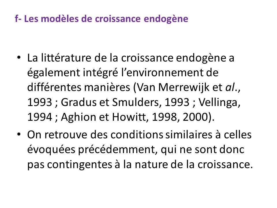 f- Les modèles de croissance endogène