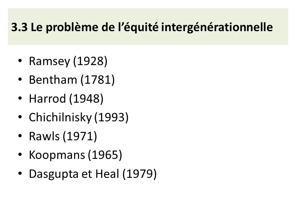 3.3 Le problème de l'équité intergénérationnelle