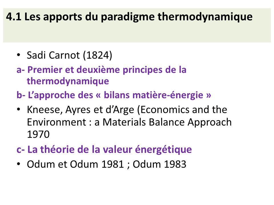 4.1 Les apports du paradigme thermodynamique