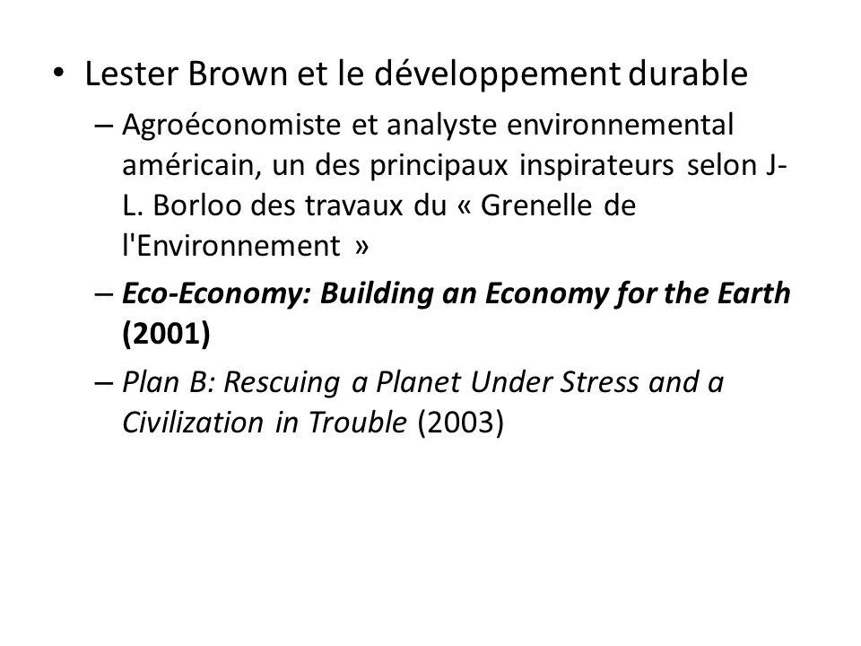 Lester Brown et le développement durable