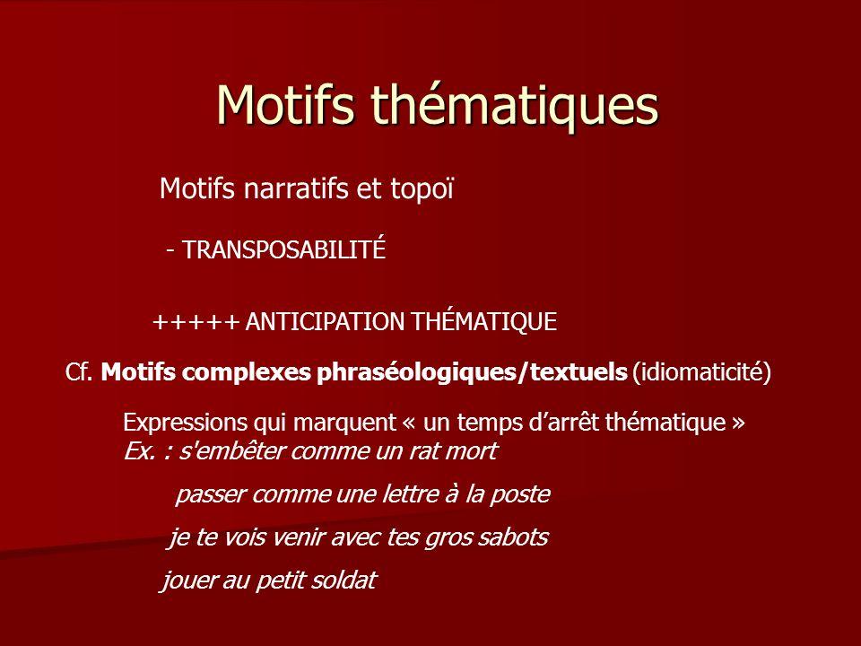 Motifs thématiques Motifs narratifs et topoï - TRANSPOSABILITÉ