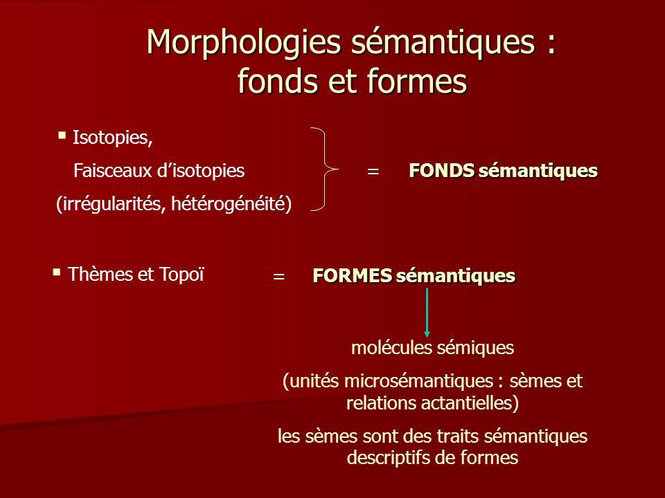 Morphologies sémantiques : fonds et formes