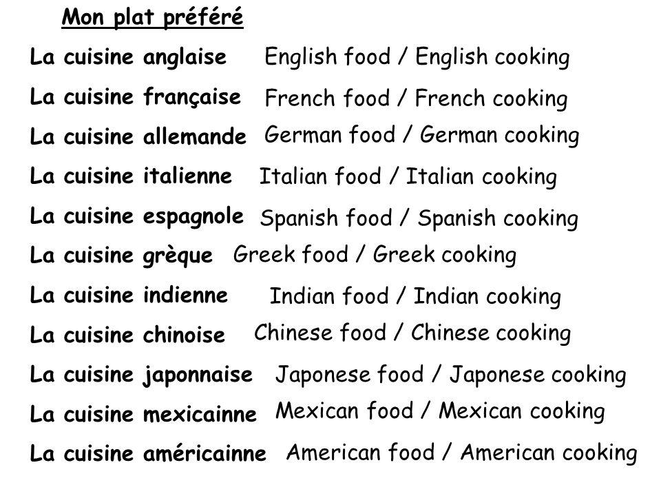 Mon plat préféré La cuisine anglaise. La cuisine française. La cuisine allemande. La cuisine italienne.