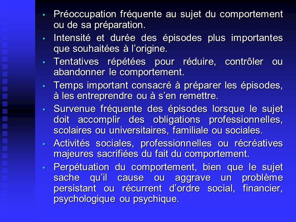 Préoccupation fréquente au sujet du comportement ou de sa préparation.