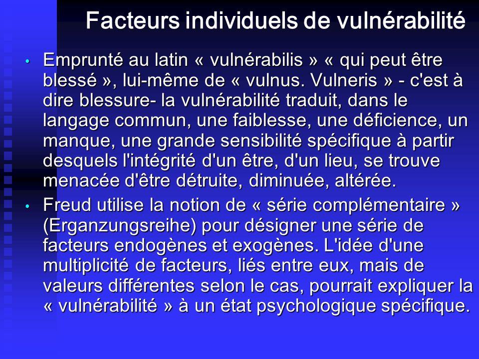 Facteurs individuels de vulnérabilité