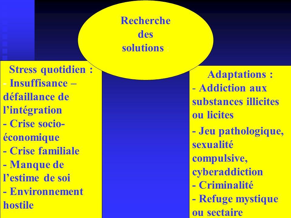 Recherche des. solutions : Stress quotidien : - Insuffisance – défaillance de l'intégration. - Crise socio-économique.