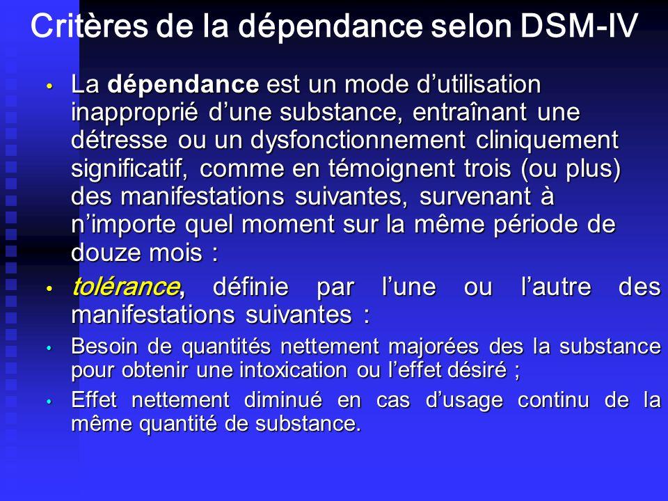 Critères de la dépendance selon DSM-IV