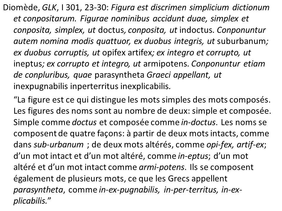 Diomède, GLK, I 301, 23-30: Figura est discrimen simplicium dictionum et conpositarum.