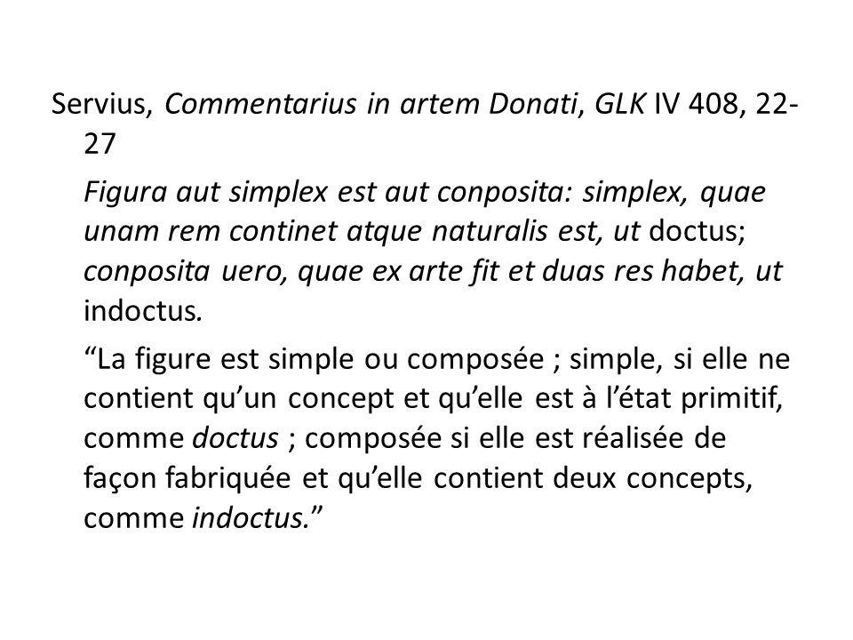 Servius, Commentarius in artem Donati, GLK IV 408, 22-27 Figura aut simplex est aut conposita: simplex, quae unam rem continet atque naturalis est, ut doctus; conposita uero, quae ex arte fit et duas res habet, ut indoctus.