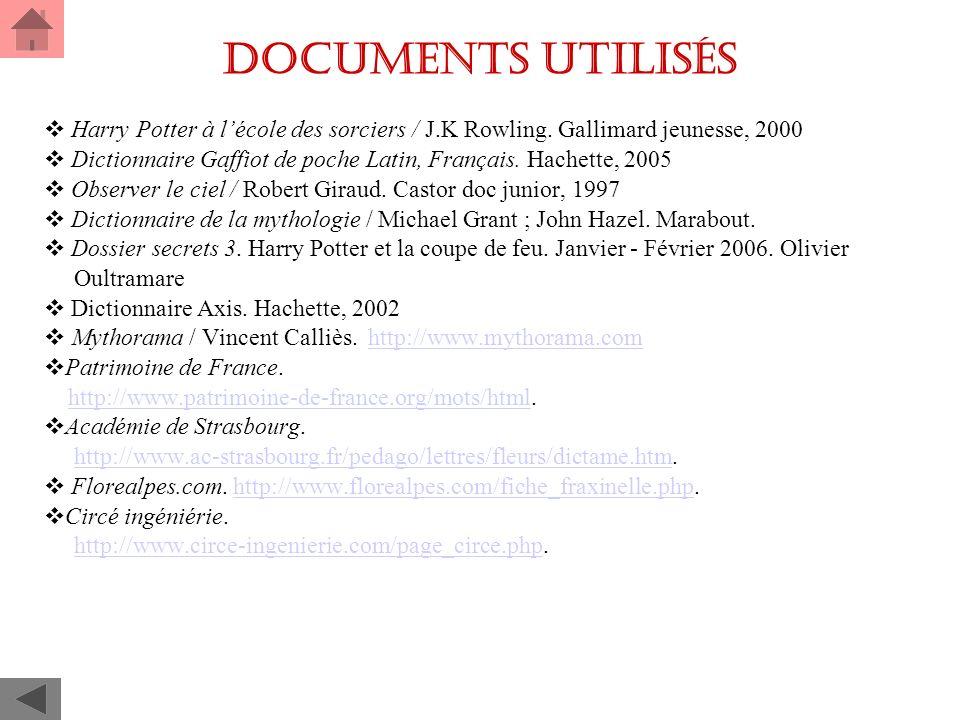 Documents utilisés Harry Potter à l'école des sorciers / J.K Rowling. Gallimard jeunesse, 2000.