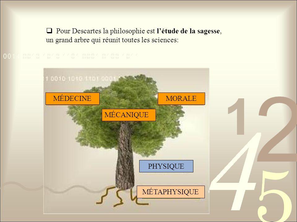 Pour Descartes la philosophie est l'étude de la sagesse,