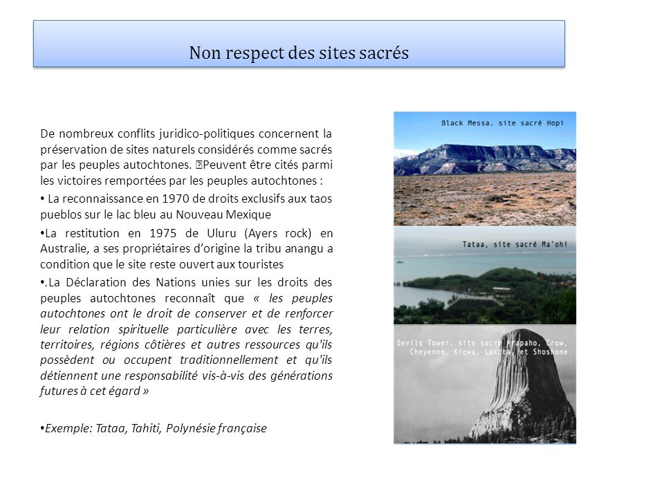 Non respect des sites sacrés