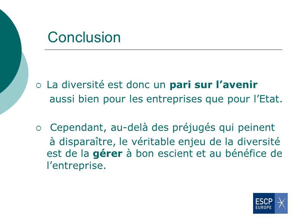 Conclusion La diversité est donc un pari sur l'avenir
