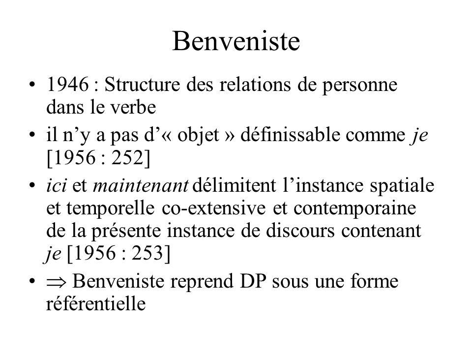 Benveniste 1946 : Structure des relations de personne dans le verbe