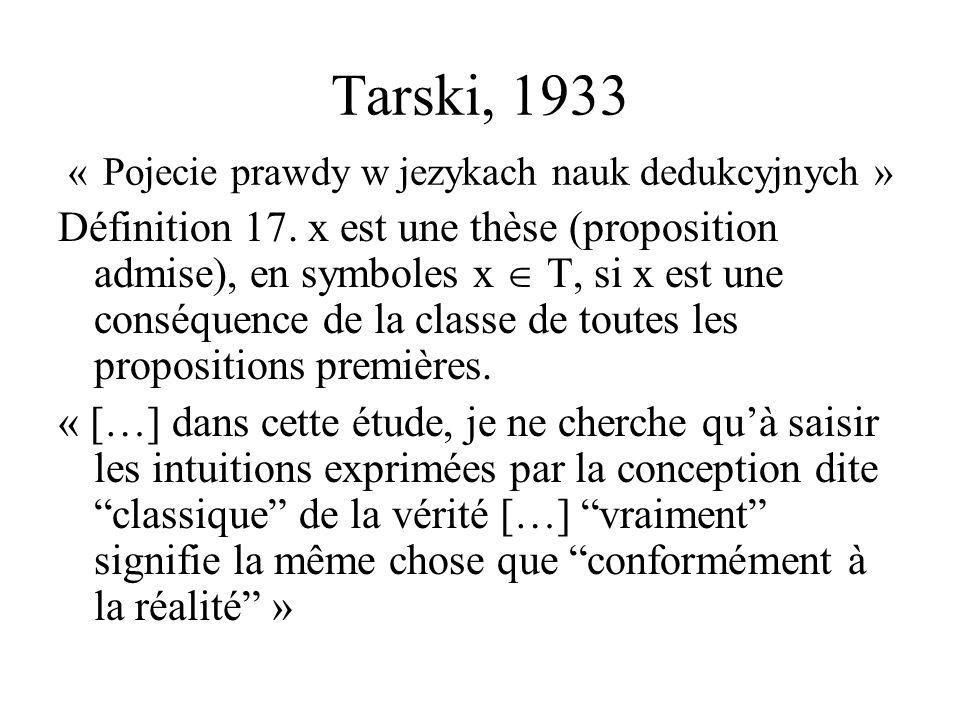 Tarski, 1933 « Pojecie prawdy w jezykach nauk dedukcyjnych »