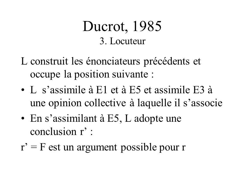 Ducrot, 1985 3. Locuteur L construit les énonciateurs précédents et occupe la position suivante :