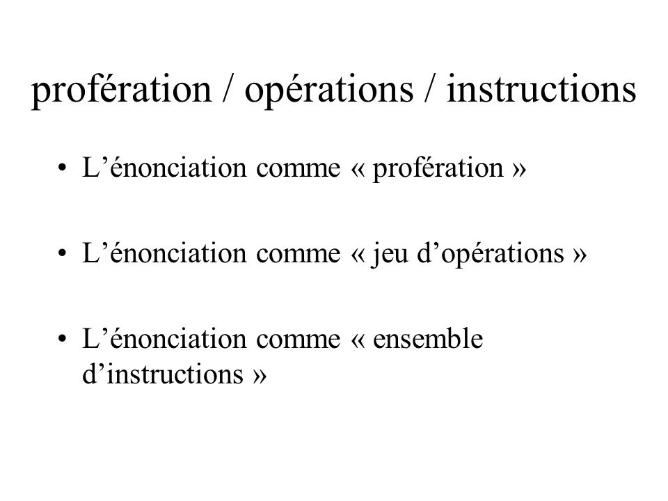 profération / opérations / instructions