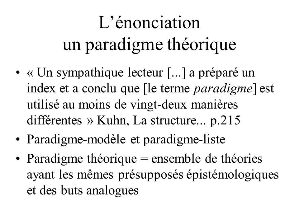 L'énonciation un paradigme théorique