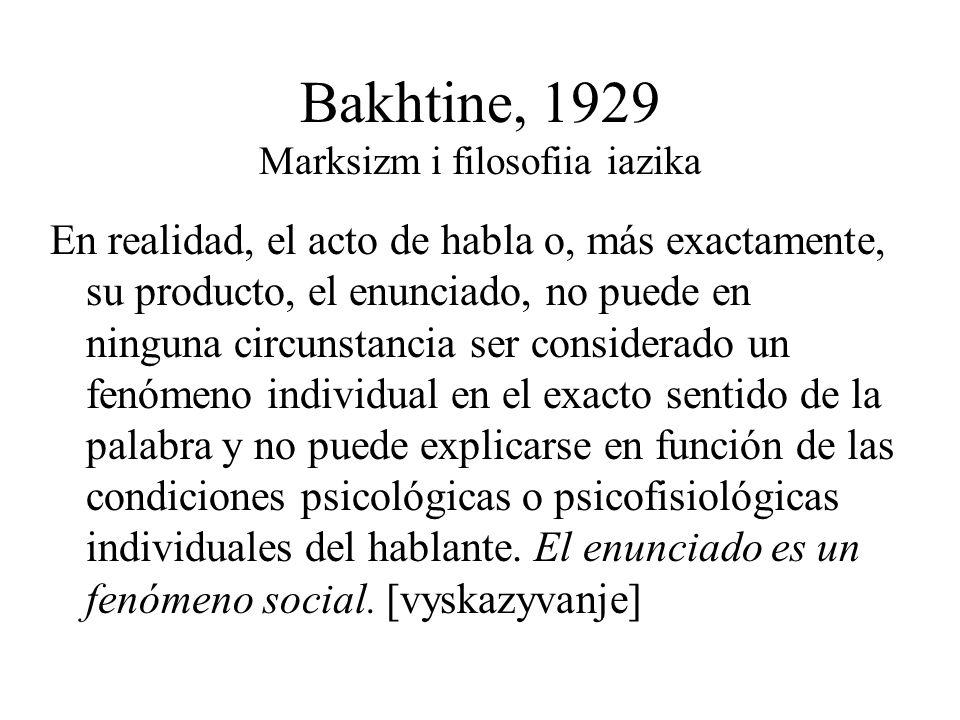 Bakhtine, 1929 Marksizm i filosofiia iazika