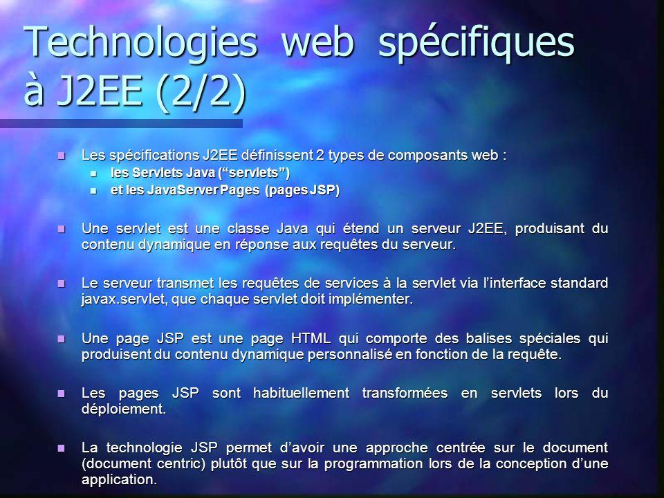 Technologies web spécifiques à J2EE (2/2)