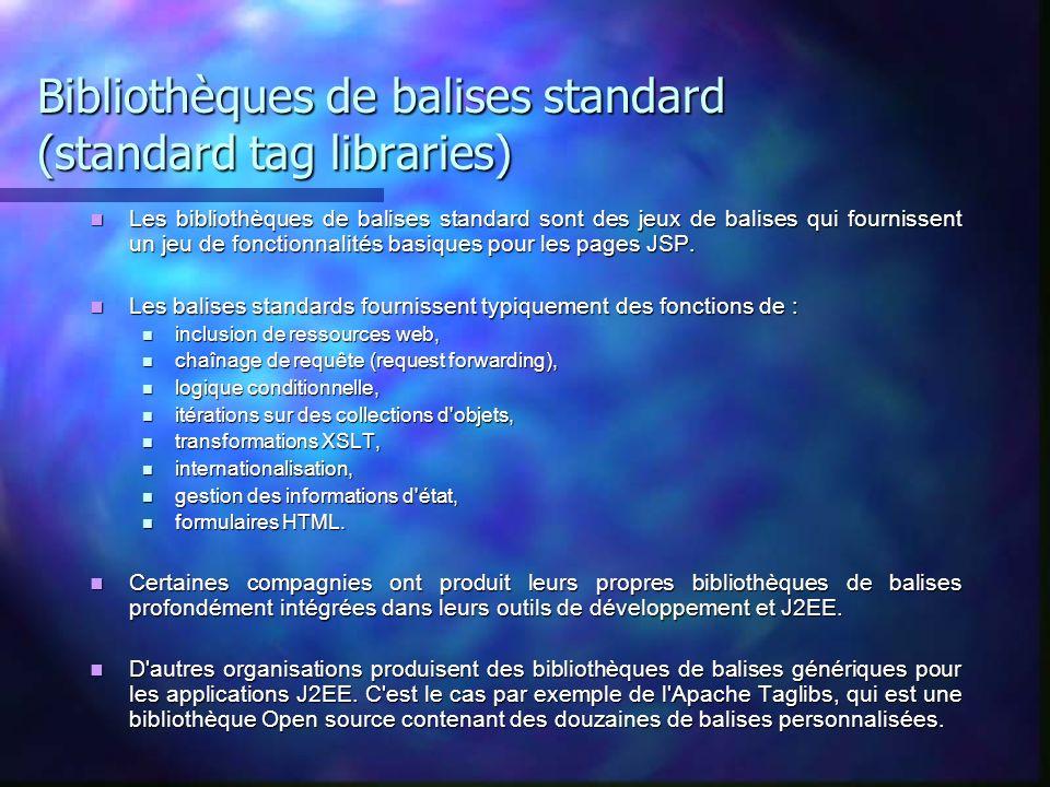 Bibliothèques de balises standard (standard tag libraries)