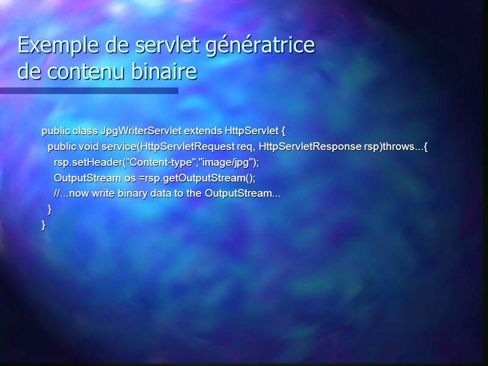 Exemple de servlet génératrice de contenu binaire