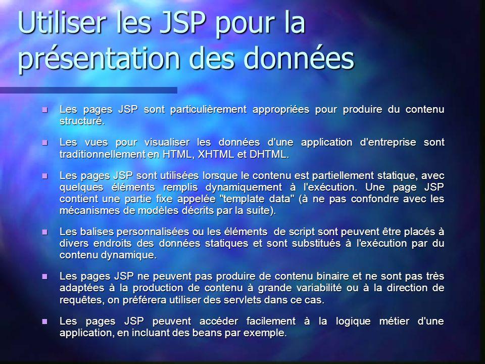 Utiliser les JSP pour la présentation des données