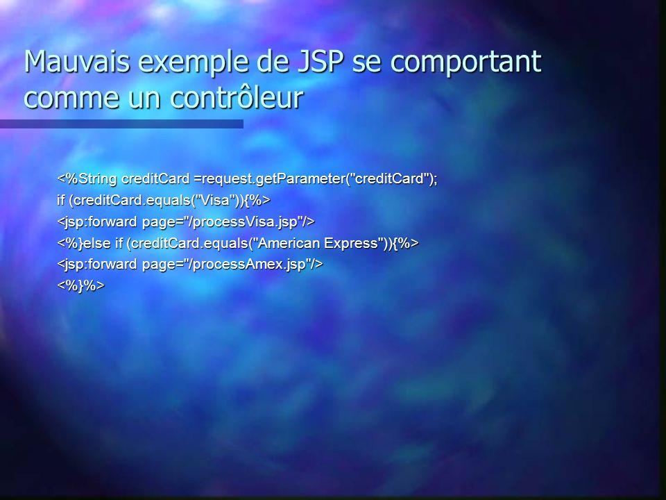 Mauvais exemple de JSP se comportant comme un contrôleur