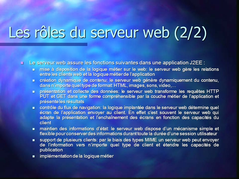 Les rôles du serveur web (2/2)