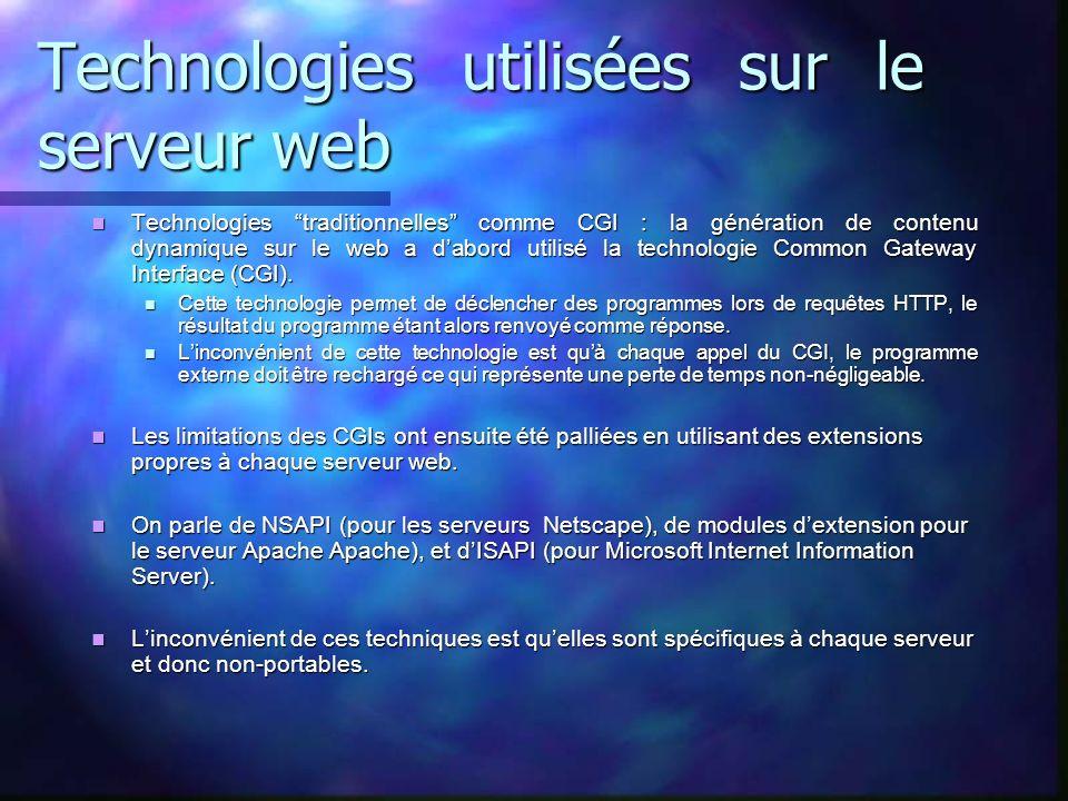 Technologies utilisées sur le serveur web