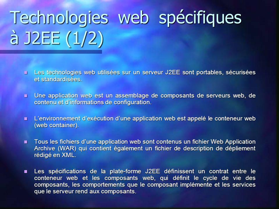 Technologies web spécifiques à J2EE (1/2)