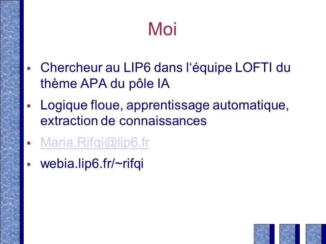 Moi Chercheur au LIP6 dans l'équipe LOFTI du thème APA du pôle IA