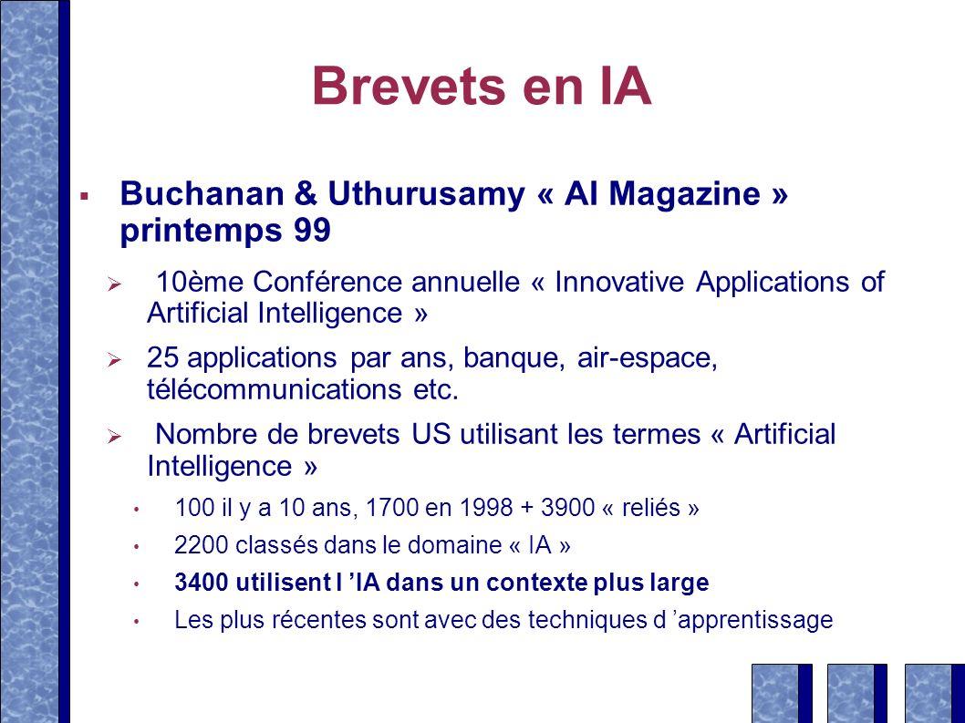 Brevets en IA Buchanan & Uthurusamy « AI Magazine » printemps 99
